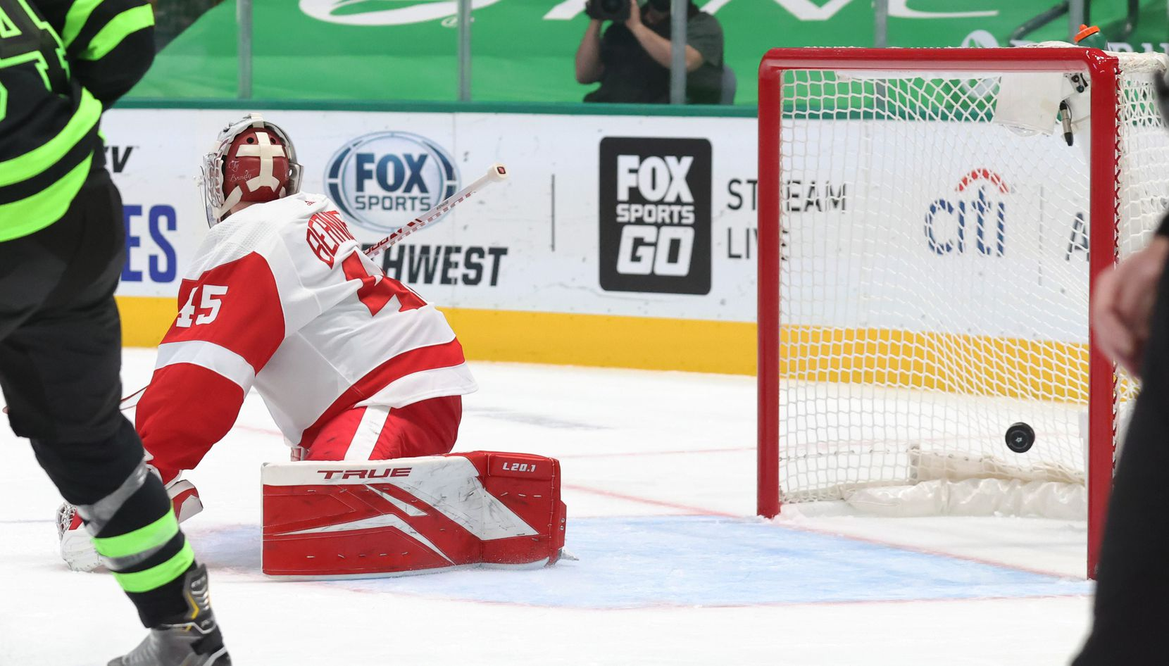 Detroit Red Wings goaltender Jonathan Bernier (45) looks back at the goal scored by Dallas Stars center Joe Pavelski (16) during the first period of play at American Airlines Center on Thursday, January 28, 2021in Dallas. (Vernon Bryant/The Dallas Morning News)