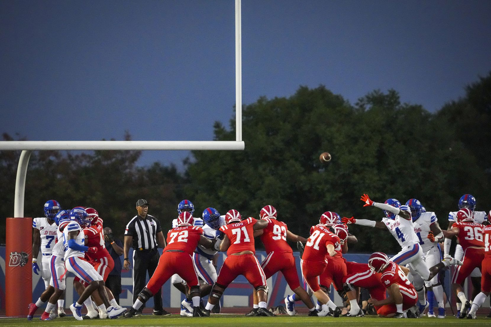Mater Dei kicker Chase Meyer (91) kicks a field goal past Duncanville defensive back Deldrick Madison (4) during the first half of a high school football game on Friday, Aug. 27, 2021, in Duncanville.