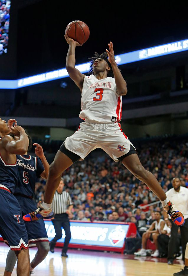 Garland's Tyrese Maxey scores two from Friday's Class6A boys basketball UIL state semifinal between South Garland (area team)and Katy Tompkins.on Friday, March 9, 2018 at the Alamodome.  (Ronald Cortes/Special Contributor)  ORG XMIT: 00025149A