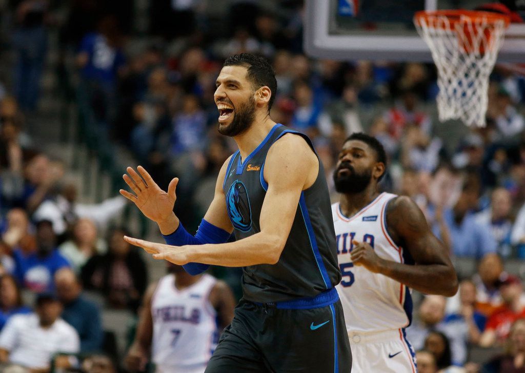 Dallas Mavericks center Salah Mejri (50) celebrates after making a three pointer in a game against the Philadelphia 76ers during the second half of play at the American Airlines Center in Dallas on Monday, April 1, 2019. Dallas Mavericks defeated the Philadelphia 76ers 122-102. (Vernon Bryant/The Dallas Morning News)