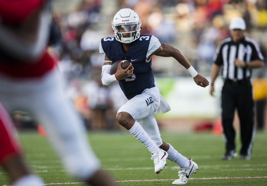 Allen quarterback Raylen Sharpe (3) runs the ball during the first quarter of a high school football game between Allen and Cedar Hill on Friday, August 30, 2019 at Eagle Stadium in Allen. (Ashley Landis/The Dallas Morning News)