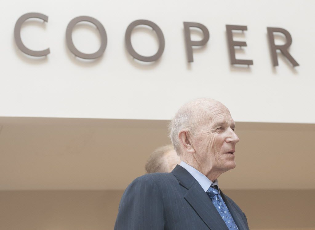 Dr. Kenneth Cooper listened to speakers at the unveiling of the Cooper Fitness Center's renovated building in 2014.