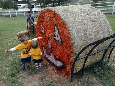 Children check out the painted Halloween face on a bail of hay at Owens Farms in Richardson.