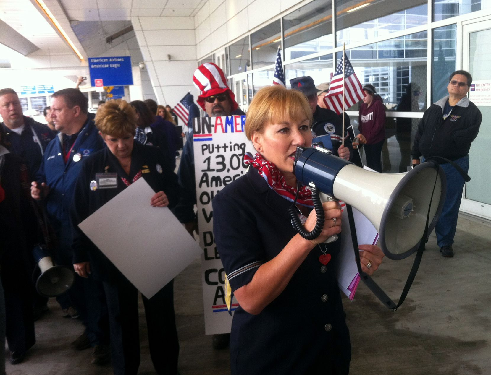 Lori Bassani, who heads the flight attendants union at American Airlines, led a protest in 2012 at DFW International Airport.