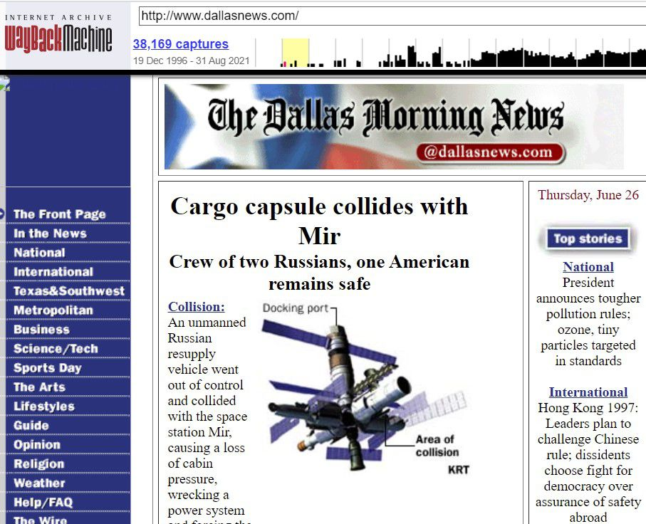"""The DallasNews.com home page from June 1997, courtesy of the """"Wayback Machine"""" that shows screen shots of web pages going back to the mid 1990s."""