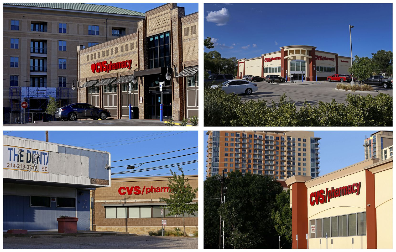 Clockwise from top left: CVS stores located at 108 West Davis St., 3030 Sylvan Ave., 3133 E. Lemmon Ave. and 4930 Maple Ave. in Dallas on Wednesday, June 13.