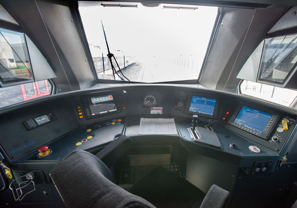 Conductor's station inside one of TEXRail's new trains in Fort Worth, Texas on December 3, 2018. (Robert W. Hart/Special Contributor)
