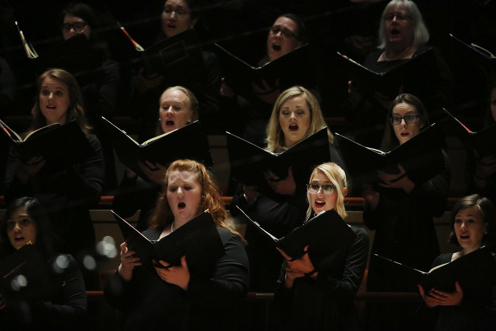 Dallas Symphony Chorus performs while Jaap van Zweden conducts Symphony No. 9 by Beethoven along with the Dallas Symphony Orchestra at the Meyerson Symphony Center in Dallas on Thursday, May 24, 2018.
