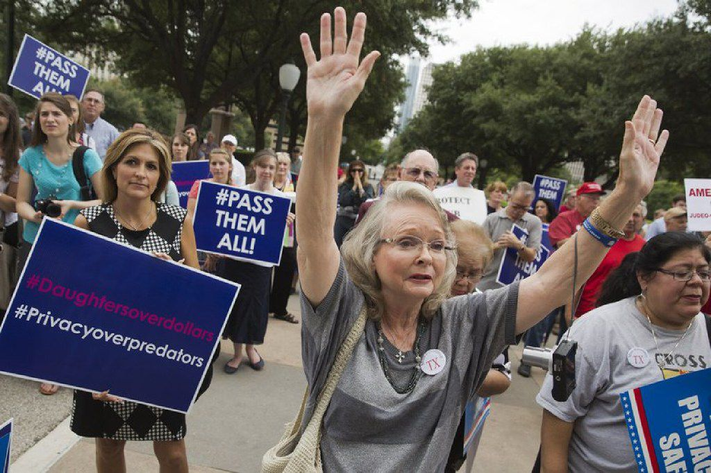 Supporters of the bathroom bill joined pastors at a rally at the state Capitol in Austin on Aug. 3, 2017.