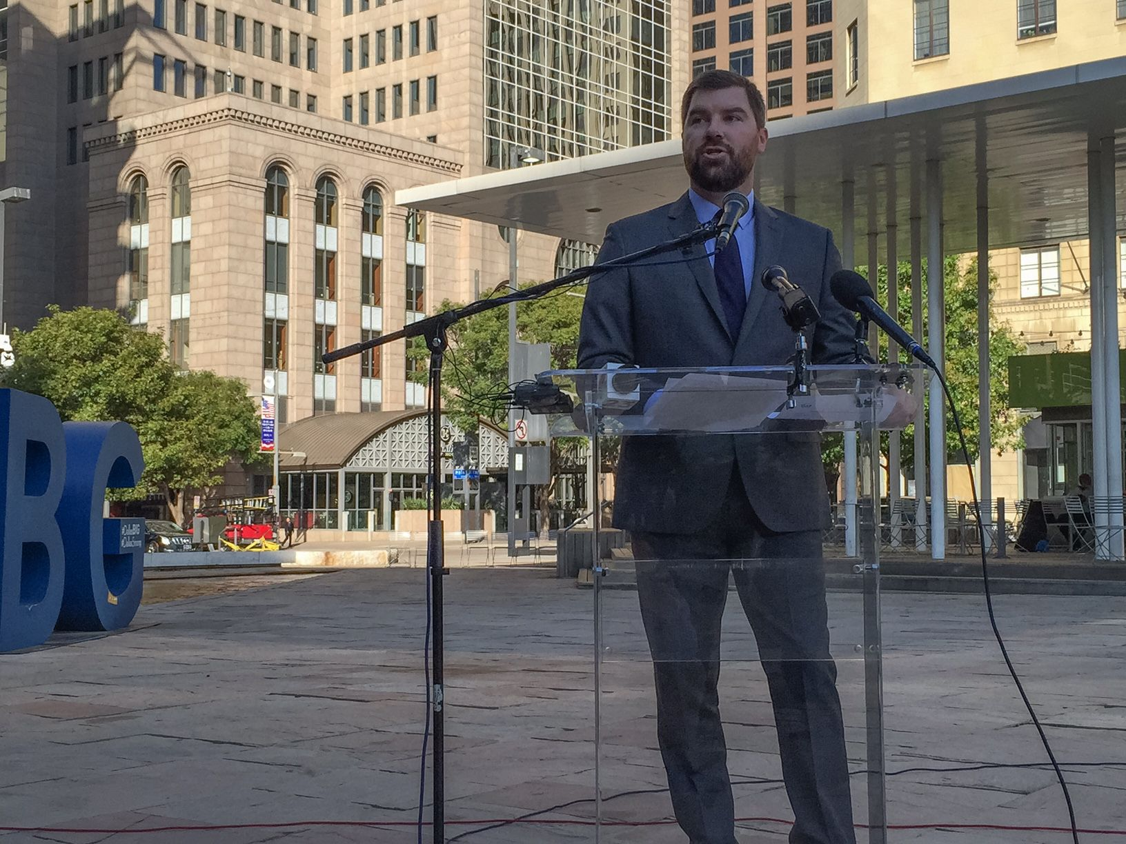 Josh McGee, a vice president at the Laura and John Arnold Foundation, says Dallas needs to fix its pension system or face serious consequences during a news conference on Oct. 27, 2016, in Main Street Garden.