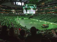 Hockey fans watch the Dallas Stars versus the Tampa Bay Lightning during a watch party at the American Airlines Center for game 1 of the Stanley Cup Final, Saturday, on Sept. 19, 2020. The Dallas Stars won game one 4-1.