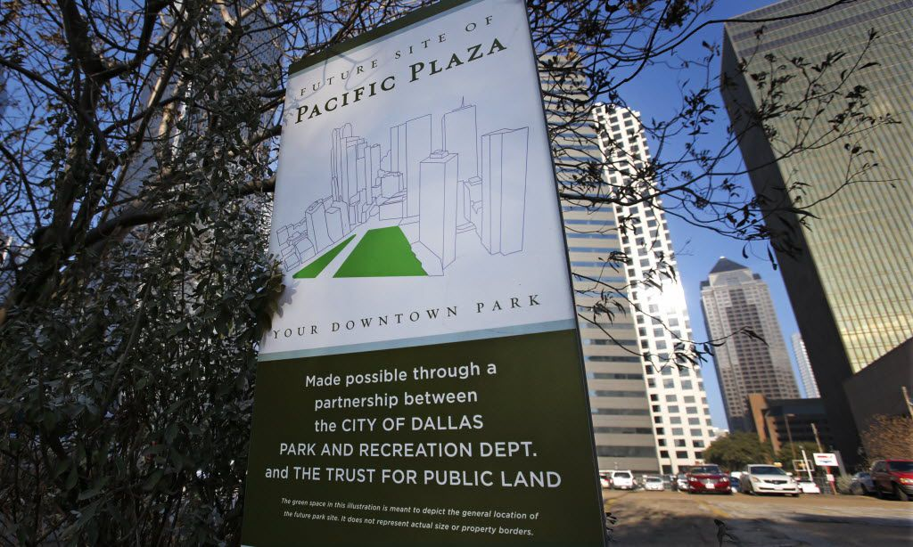 A sign heralds the future site of Pacific Plaza Park. (File Photo/Louis DeLuca)