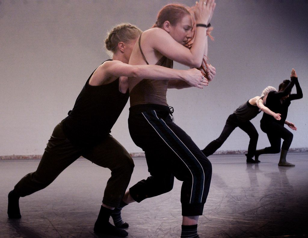 Olivia Rehrman, left, Emily Drake and other members of Bruce Wood Dance rehearse New York choreographer Yin Yue's Begin Again, which premieres at the company's eighth season opener in Dallas.