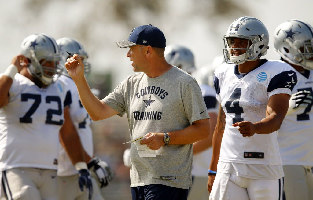 Dallas Cowboys offensive coordinator Scott Linehan directs the first team offense with quarterback Dak Prescott (4) at the helm during afternoon practice at training camp in Oxnard, California, Thursday, August 4, 2016. Tony Romo sat out of practice. (Tom Fox/The Dallas Morning News)