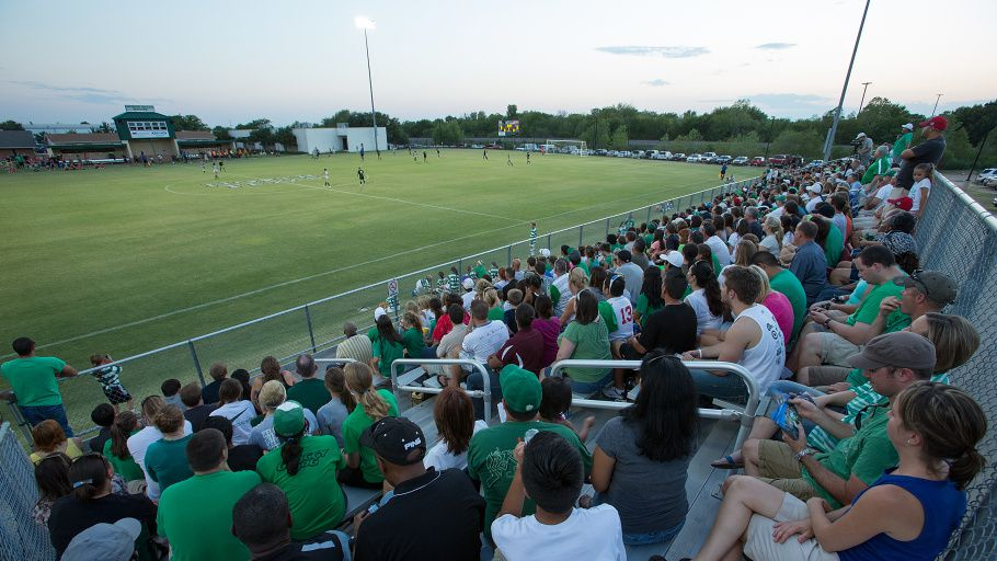 Denton, TX - SEPTEMBER 7: University of North Texas soccer crowd photo at Mean Green Village Soccer Field in Denton on September 7, 2012 in Denton, Texas. Photo by: Rick Yeatts