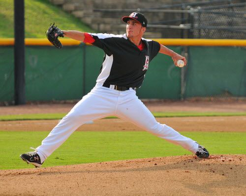 Former Texas Rangers first-round Pick Kevin Matthews is pictured pitching for Single A affiliate Hickory Crawdads against the Delmarva Shorebirds on July 7, 2012. Courtesy/Tracy Proffitt)