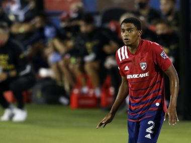 FC Dallas defender Reggie Cannon (2) stays alert in front of the team bench during first half action of their soccer match against Nashville FC. The MLS teams played their soccer match at Toyota Stadium in Frisco on August 16, 2020. (Steve Hamm/ Special Contributor)