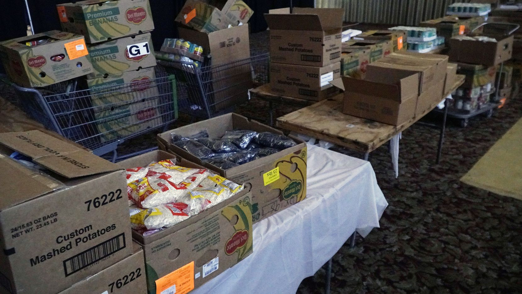 The food pantry survived the damage from the storm at Friendship West ministry center on Kiest Boulevard in Dallas, Texas on Saturday, February 20, 2021.