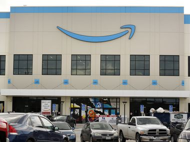 An exterior view of the new Amazon Fulfillment Center on Chalk Hill Road in Dallas.