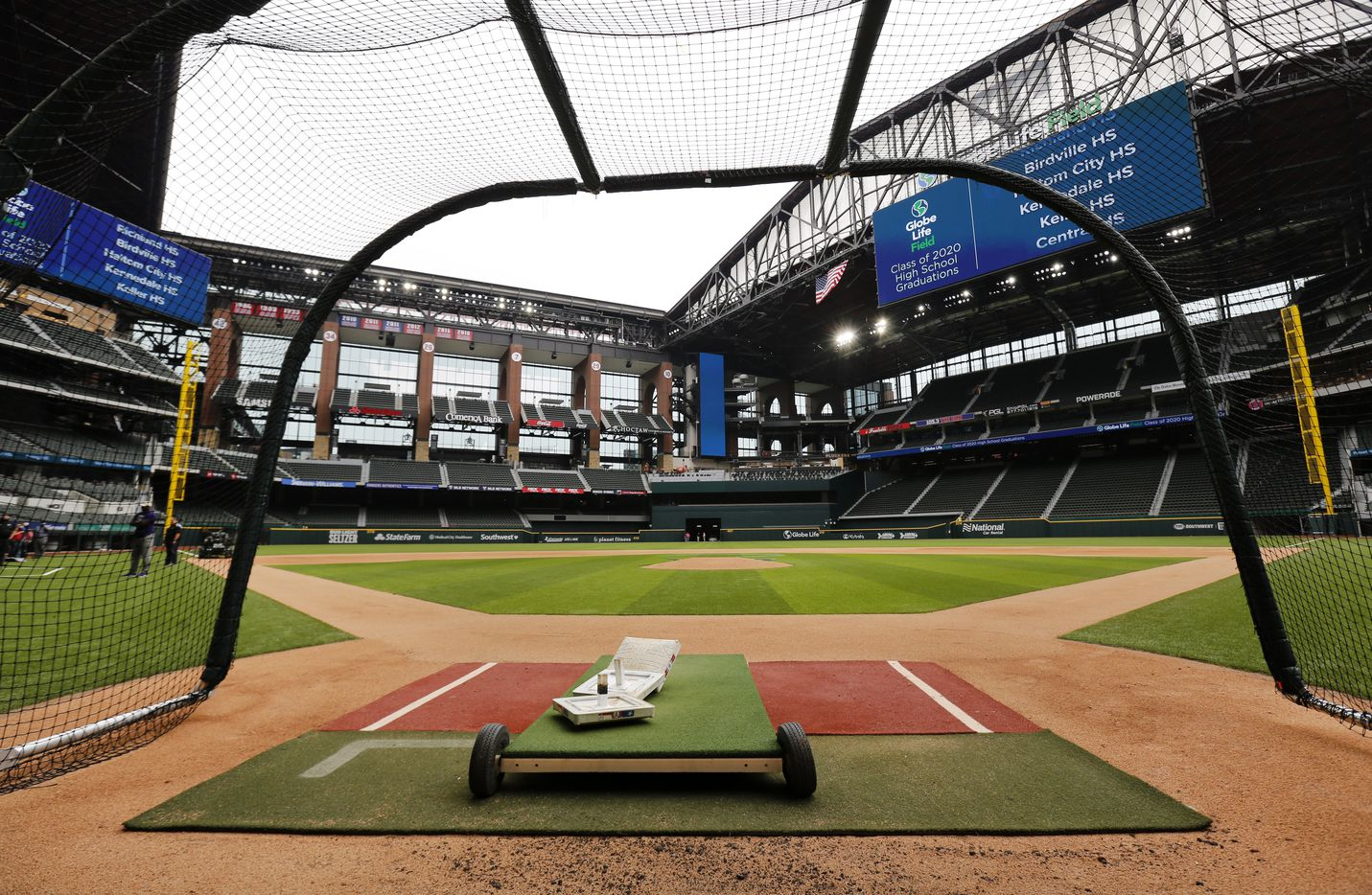 Texas Rangers players have been using a batting cage on the field of the newly completed Globe Life Field in Arlington, Texas, Wednesday, May 20 2020. The stadium is also getting ready to host several high school graduations. (Tom Fox/The Dallas Morning News)