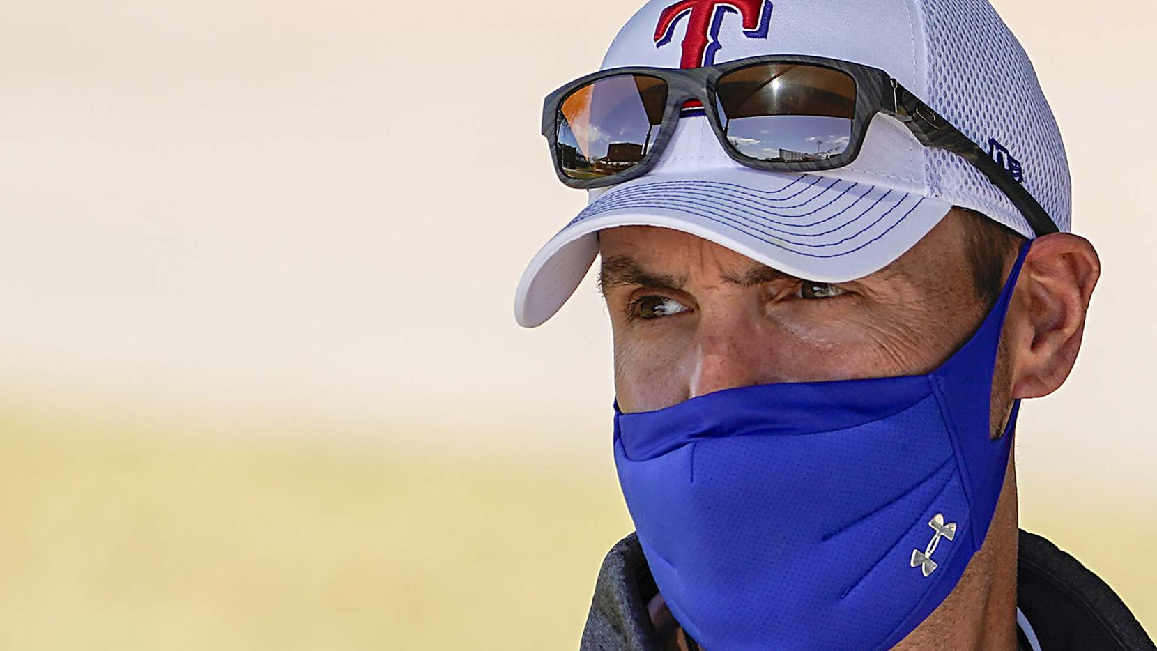 Texas Rangers executive vice president & general manager Chris Young watches during a spring training workout at the team's training facility on Saturday, March 6, 2021, in Surprise, Ariz.