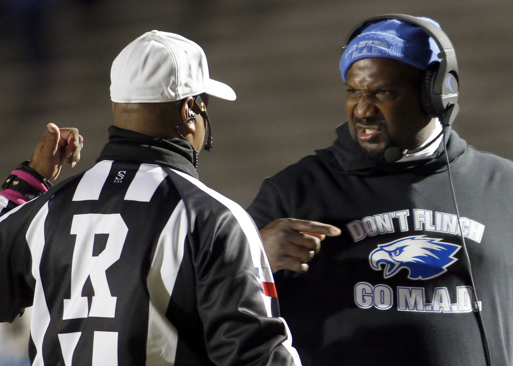 Wilmer Hutchins head coach Elzie Barnett reacts from a game official's call during first half action against Dallas Carter. The two teams played their District 8-4A Division 1 football game at Wilmer Hutchins High School Stadium in Dallas on October 23, 2020. (Steve Hamm/ Special Contributor)