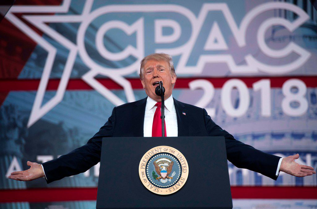 President Donald Trump speaks during the 2018 Conservative Political Action Conference on Friday.
