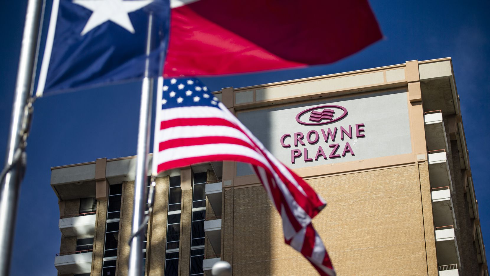 Downtown Dallas' Crown Plaza hotel, which underwent a major renovation before the pandemic, is one of dozens of North Texas hotels that lenders are keeping close watch on because of reduced income.