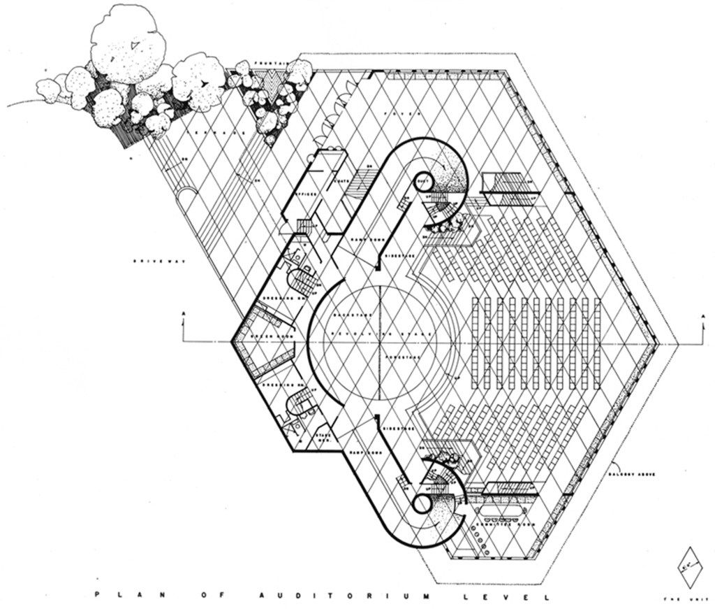 1959 diamond-grid plan for the Dallas Theater Center, by Frank Lloyd Wright.