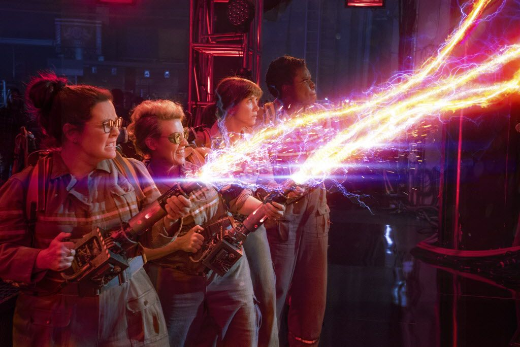 "In this image released by Sony Pictures, from left, Melissa McCarthy, Kate McKinnon, Kristen Wiig and Leslie Jones appear in a scene from, ""Ghostbusters."""