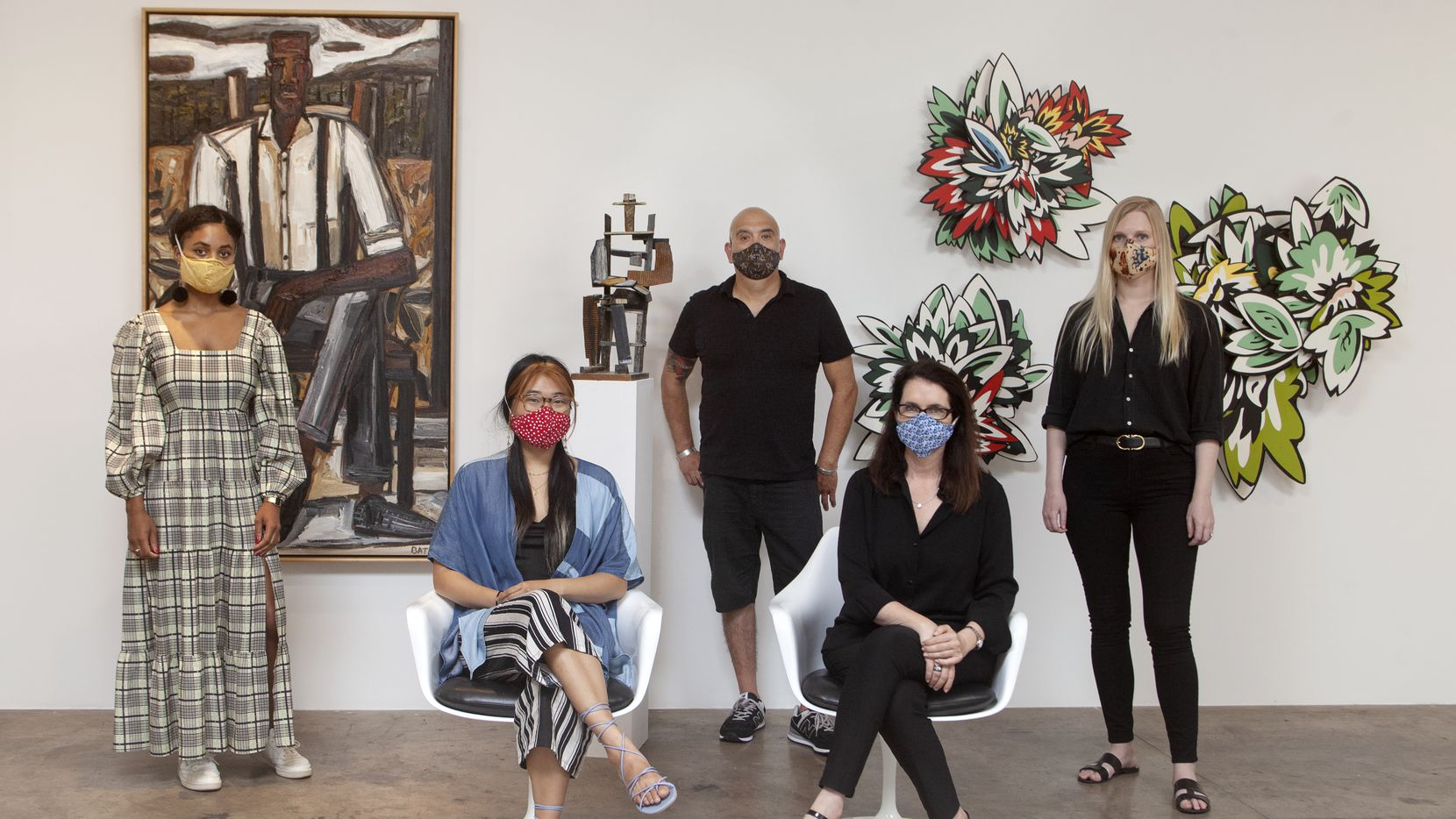 Ari Brielle Edwards (from left), Kimberly Yu, Trini Martinez, Talley Dunn and Meredith Leyendecker all worked to put together the Talley Dunn Gallery Equity in the Arts Fellowship for artists of color.
