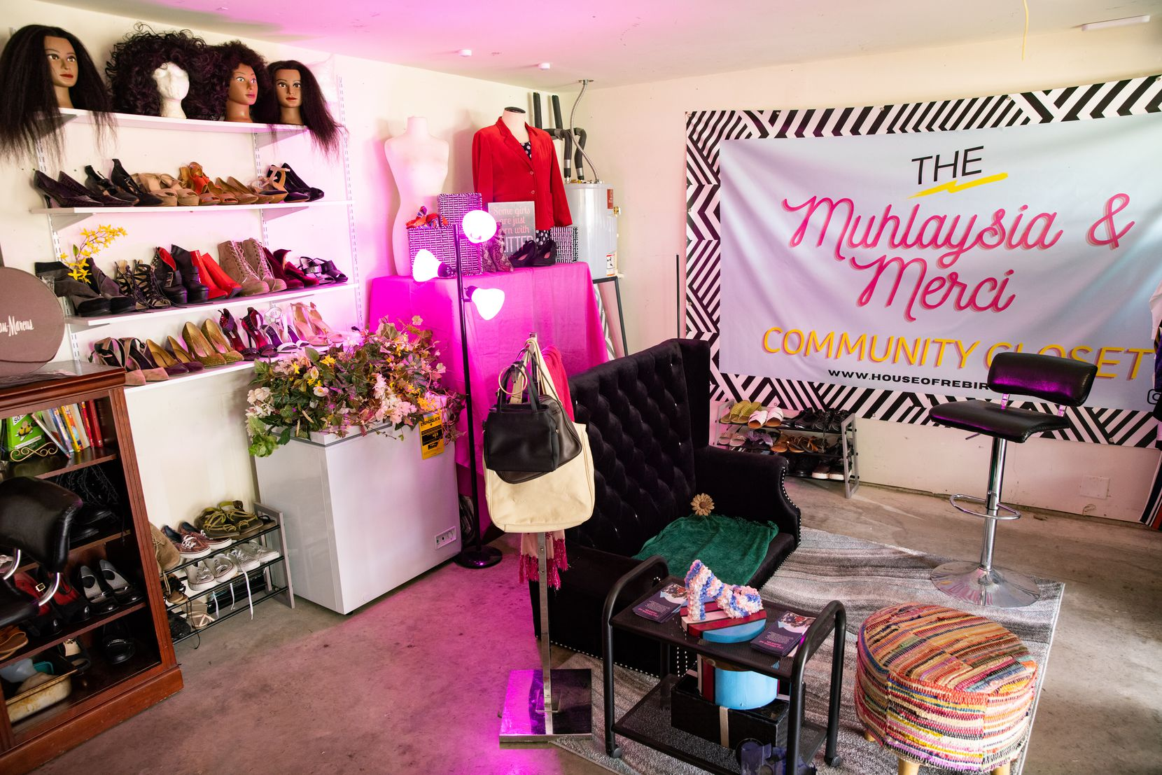 The Muhlaysia and Merci's Community Closet located in the garage of the House of Rebirth in Dallas on Tuesday, April 6, 2021. House of Rebirth is a housing option and community for Black trans women established in 2019 following the deaths of Muhlaysia Booker and Chynal Lindsey. (Juan Figueroa/ The Dallas Morning News)