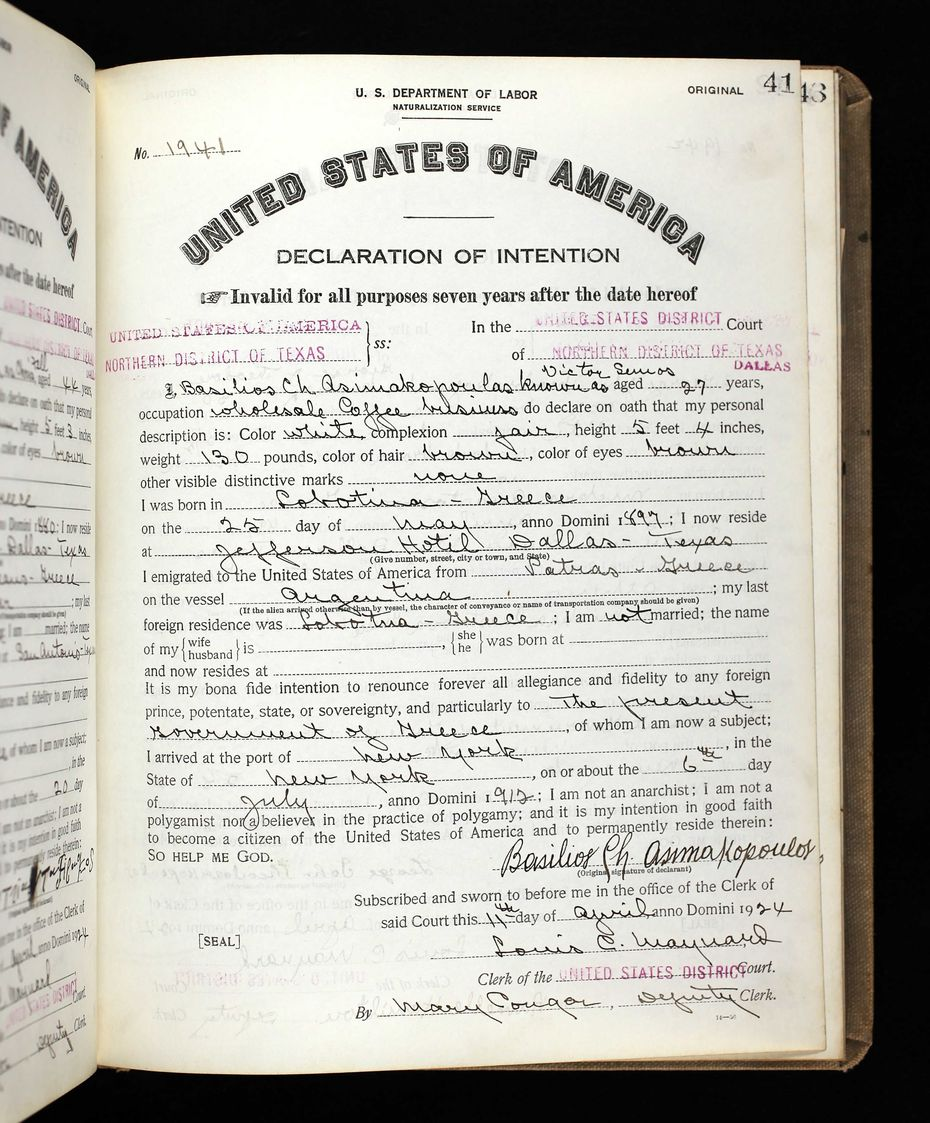 Victor Semos' official naturalization papers dated 1924. Birth month and day vary, and the town of birth is now called Nafpaktos.