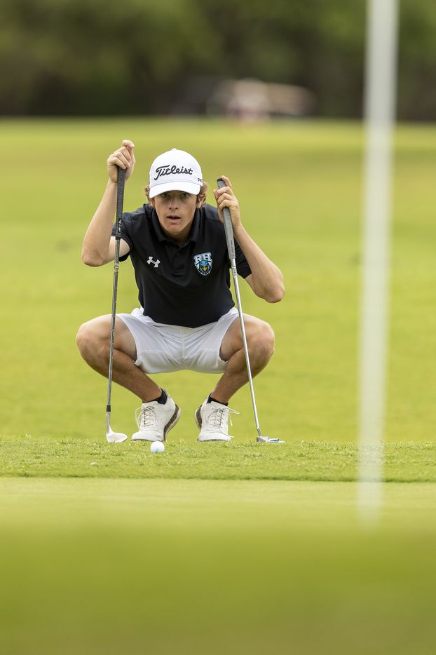Prosper Rock HillÕs Ryan Shellberg studies his shot on the 12th green during round 1 of the UIL Class 5A boys golf tournament in Georgetown, Monday, May 17, 2021. (Stephen Spillman/Special Contributor)