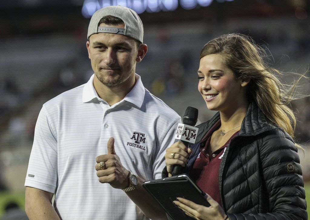 Nov 7, 2015; College Station, TX, USA; Cleveland Browns quarterback Johnny Manziel is interviewed before a game between the Texas A&M Aggies and the Auburn Tigers at Kyle Field. Mandatory Credit: Troy Taormina-USA TODAY Sports