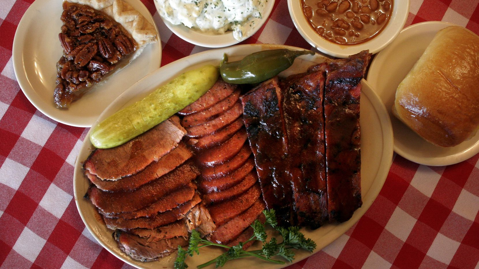 A sampling of fare from Dickey's Barbecue Pit.