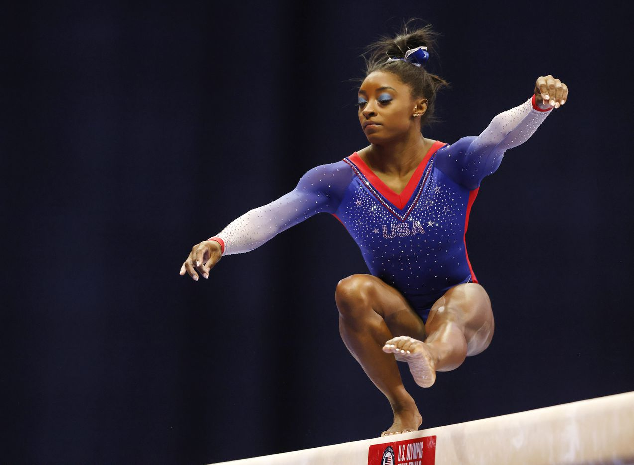 Simone Biles of World Champions competes in balance beam during day 1 of the women's 2021 U.S. Olympic Trials at America's Center on Friday, June 25, 2021 in St Louis, Missouri.