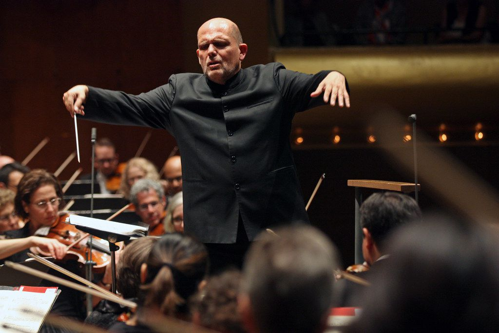 Jaap van Zweden, the New York Philharmonic's incoming music director, leads the orchestra at David Geffen Hall, in New York, Sept. 22, 2017.