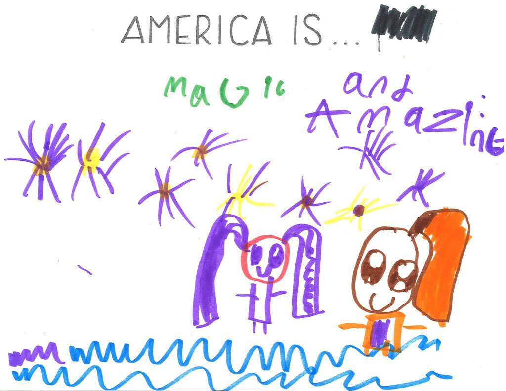 Jayla Lockett, 8, drew herself and her mom in a pool surrounded by Fourth of July fireworks.