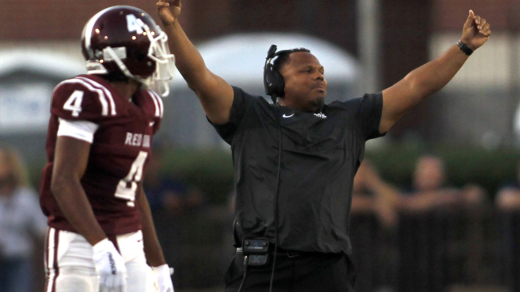 Red Oak head coach Tony Holmes reacts to a defensive stop during first half action against Rockwall Heath. The two teams played their non-district football game at Billy Goodloe Stadium on the campus of Red Oak High School in Red Oak on September 10, 2021. (Steve Hamm/ Special Contributor)