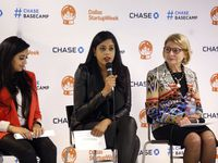 Shama Hyder (left), Yasmeen Tadia and Valerie Freeman gave advice in 2019 on how to be a successful Dallas entrepreneur.