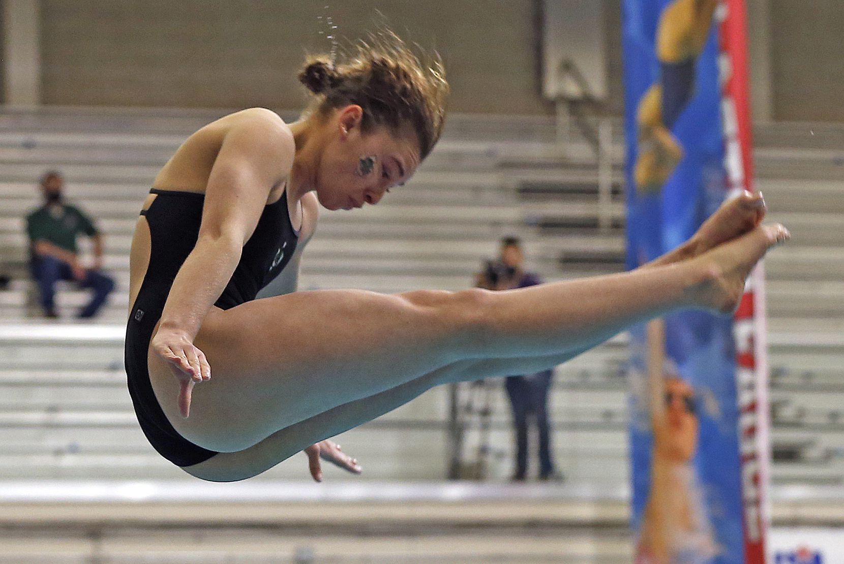 South Lake CarrolHS Hailey Hernandez performs on the 1 meter board. UIL Girls 6A Finals on Monday, March 1,2021 at Bill Walker Pool and Josh Davis Natatorium
