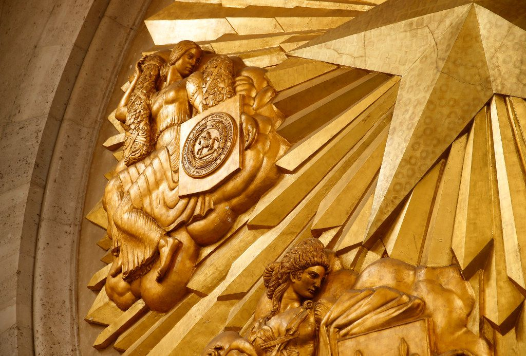 Detail of gold-leafed medallion at the Hall of State. (Tom Fox/The Dallas Morning News)