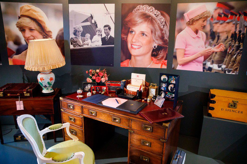 The desk at which Britain's Diana, Princess of Wales, worked at whilst in residence at Kensington Palace, along with a selection of her personal artefacts, chosen by her sons Britain's Prince William, Duke of Cambridge, and Britain's Prince Harry, is pictured during a photocall at Buckingham Palace in London on July 20, 2017, to promote the forthcoming 'Royal Gifts' exhibition. The 'Royal Gifts' exhibition will showcase some of the gifts  given to the Queen during her 65-year reign, and is set to run July 22October 1, 2017 at this year's Summer Opening of the State Rooms at Buckingham Palace. / AFP PHOTO / Tolga AkmenTOLGA AKMEN/AFP/Getty Images