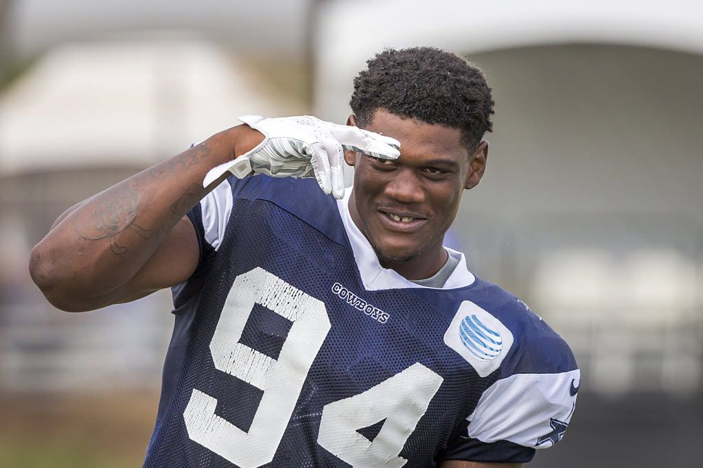 Dallas Cowboys defensive end Randy Gregory salutes the crowd following afternoon practice at training camp on Thursday, Aug. 6, 2015, in Oxnard, Calif. (Smiley N. Pool/The Dallas Morning News)