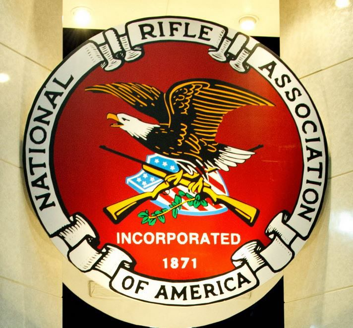 The seal for the National Rifle Association at the 142nd annual convention at the George R. Brown Convention Center in Houston.