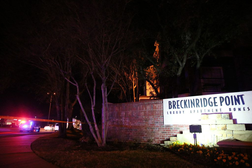 Richardson police on the scene where an officer was fatally shot at Breckinridge Point apartment complex in Richardson, Texas on Wednesday, Feb. 7, 2018.