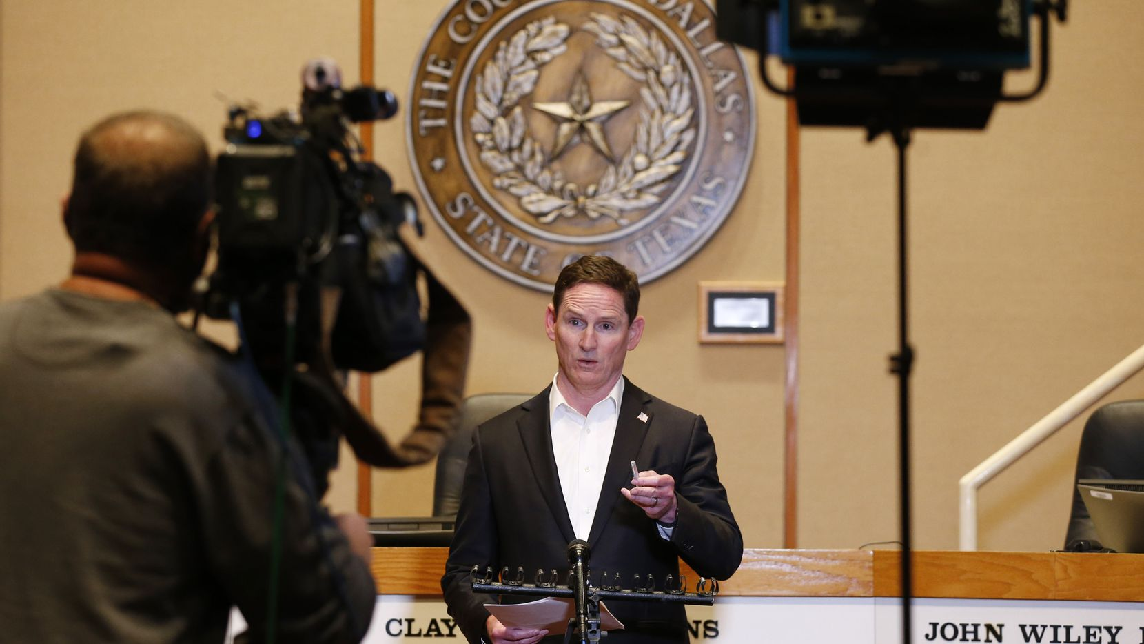Dallas County Judge Clay Jenkins speak during a press conference updating an amended order for the COVID-19 response at the Dallas County Administration Building in Dallas on Saturday, March 21, 2020. (Vernon Bryant/The Dallas Morning News)