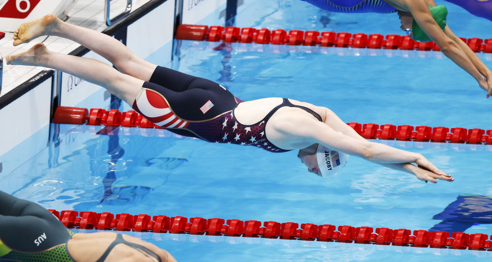 USA's Lydia Jacoby competes in the women's 50 meter breaststroke at a swim qualifying event during the postponed 2020 Tokyo Olympics at Tokyo Aquatics Centre on Sunday, July 25, 2021, in Tokyo, Japan. Jacoby finished with a time of 1:05.52. (Vernon Bryant/The Dallas Morning News)