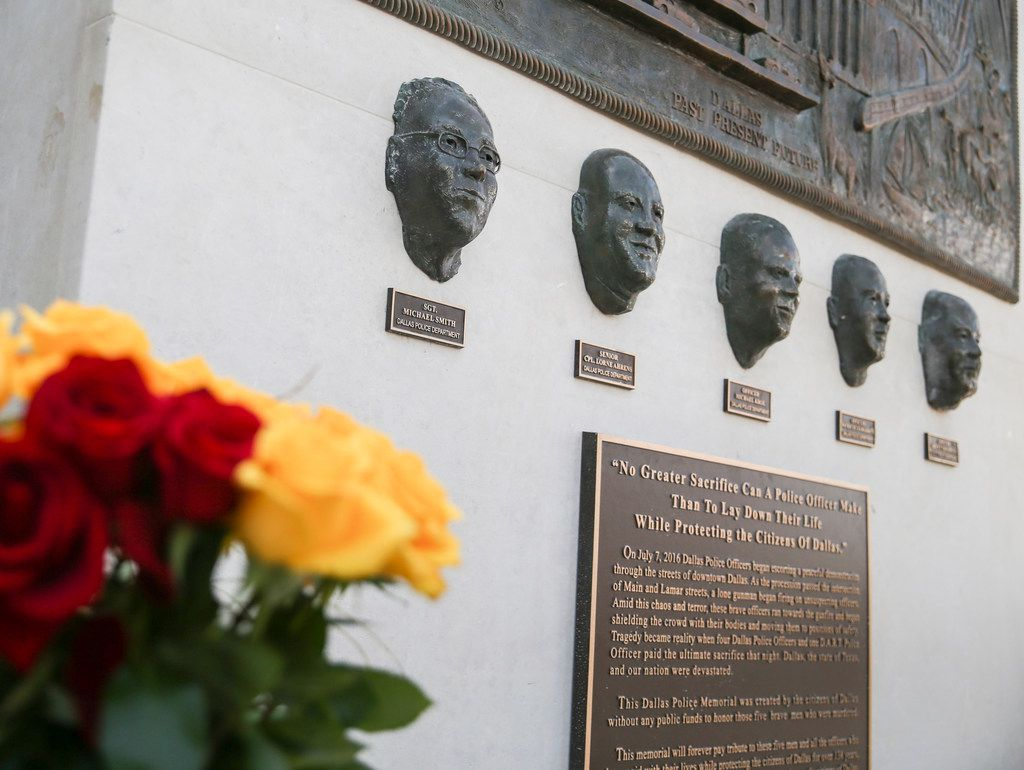 A memorial in honor of the five officers who died on July 7, 2016, was unveiled at the Jack Evans Police Headquarters in Dallas on Monday, July 8, 2019.